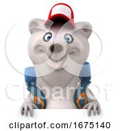 Poster, Art Print Of 3d Polar Bear Hiker On A White Background