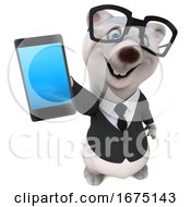 3d Business Polar Bear Holding A Cell Phone On A White Background