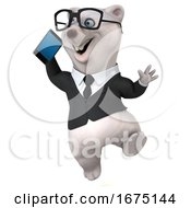 Poster, Art Print Of 3d Business Polar Bear Holding A Cell Phone On A White Background