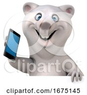 Poster, Art Print Of 3d Polar Bear Holding A Cell Phone On A White Background