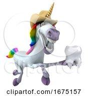 3d Cowboy Unicorn On A White Background
