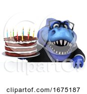 Poster, Art Print Of 3d Blue Business T Rex Dinosaur On A White Background