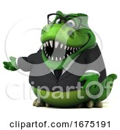 Poster, Art Print Of 3d Green Business T Rex Dinosaur On A White Background
