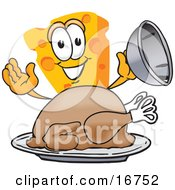 Clipart Picture Of A Wedge Of Orange Swiss Cheese Mascot Cartoon Character Serving A Thanksgiving Turkey On A Platter by Toons4Biz