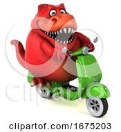 3d Red T Rex Dinosaur Riding A Scooter On A White Background