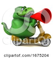 Poster, Art Print Of 3d Green T Rex Dinosaur Riding A Scooter On A White Background