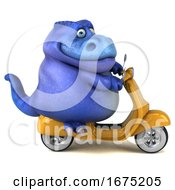 Poster, Art Print Of 3d Blue T Rex Dinosaur Riding A Scooter On A White Background