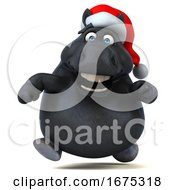 3d Chubby Black Christmas Horse On A White Background