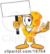 Wedge Of Orange Swiss Cheese Mascot Cartoon Character Waving A Blank White Advertising Sign
