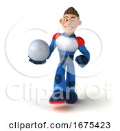3d White Male Manga Super Hero On A White Background
