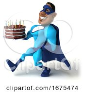 3d Buff Black Male Blue Super Hero On A White Background