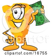 Clipart Picture Of A Wedge Of Orange Swiss Cheese Mascot Cartoon Character Holding A Green Dollar Bill by Toons4Biz