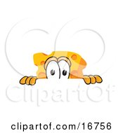 Clipart Picture Of A Wedge Of Orange Swiss Cheese Mascot Cartoon Character Peeking Over A Surface by Toons4Biz