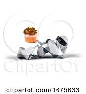 Poster, Art Print Of 3d Blue And White Robot On A White Background