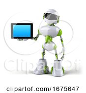 3d Green And White Robot On A White Background