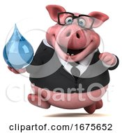Poster, Art Print Of 3d Chubby Business Pig On A White Background