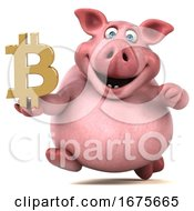 Poster, Art Print Of 3d Chubby Pig On A White Background