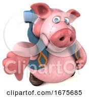 3d Backpacking Pig On A White Background