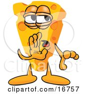 Clipart Picture Of A Wedge Of Orange Swiss Cheese Mascot Cartoon Character Whispering A Secret by Toons4Biz