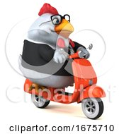 3d White Business Chicken Riding A Scooter On A White Background