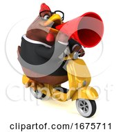 3d Chubby Brown Business Chicken Riding A Scooter On A White Background