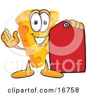 Clipart Picture Of A Wedge Of Orange Swiss Cheese Mascot Cartoon Character Holding A Red Clearance Sales Price Tag by Toons4Biz