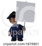 3d Black Police Officer On A White Background