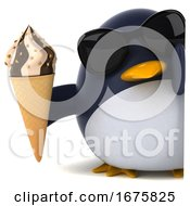 Poster, Art Print Of 3d Chubby Penguin On A White Background