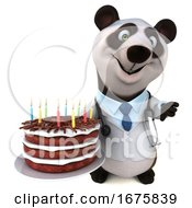 3d Doctor Panda Holding A Birthday Cake On A White Background