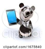 3d Business Panda With A Cell Phone On A White Background