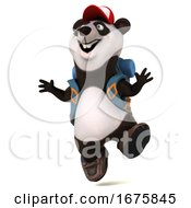 3d Panda Backpacker On A White Background