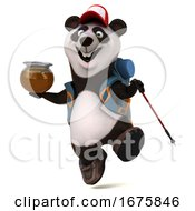 3d Backpacker Panda On A White Background