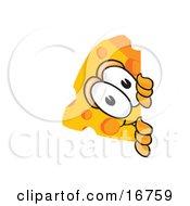 Wedge Of Orange Swiss Cheese Mascot Cartoon Character Peeking Around A Corner