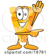Wedge Of Orange Swiss Cheese Mascot Cartoon Character Waving And Pointing To The Right