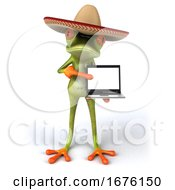 Poster, Art Print Of 3d Green Mexican Frog On A White Background