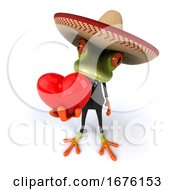 Poster, Art Print Of 3d Green Mexican Business Frog On A White Background