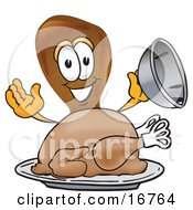 Chicken Drumstick Mascot Cartoon Character Serving A Thanksgiving Turkey On A Platter