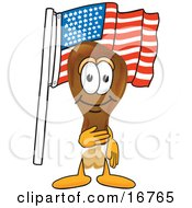 Chicken Drumstick Mascot Cartoon Character Pledging Allegiance To An American Flag