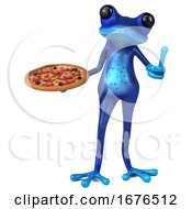 3d Blue Springer Frog On A White Background