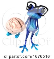 Poster, Art Print Of 3d Blue Springer Frog On A White Background