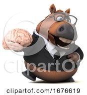 Poster, Art Print Of 3d Chubby Brown Business Horse On A White Background