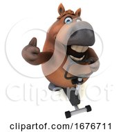 3d Chubby Brown Horse On A White Background