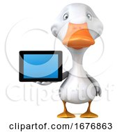 3d White Duck On A White Background