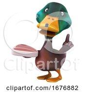 Poster, Art Print Of 3d Mallard Drake Duck On A White Background