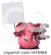 3d Pink Elephant Holding A Pound Currency Symbol On A White Background