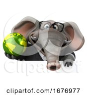 Poster, Art Print Of 3d Business Elephant On A White Background