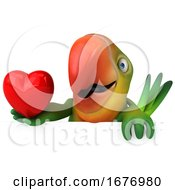 Poster, Art Print Of 3d Green Macaw Parrot On A White Background