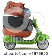 Poster, Art Print Of 3d Business Orangutan Monkey Riding A Scooter On A White Background