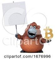 3d Orangutan Monkey Holding A Bitcoin Symbol On A White Background