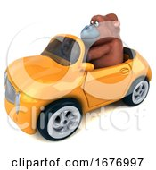 3d Orangutan Monkey Driving A Convertible On A White Background